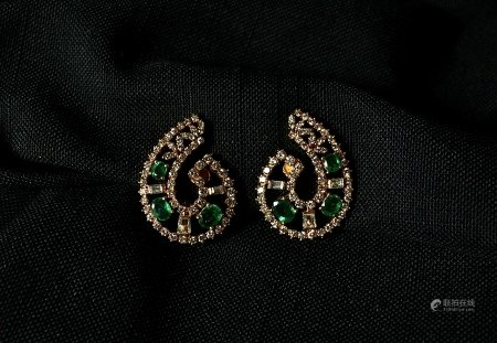 Emerald, Diamond and 18K Gold Stud Earrings, 1980s
