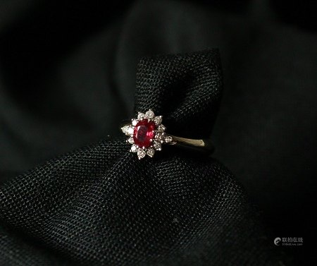 Ruby, Diamond and 18K Gold Ring, 1980s