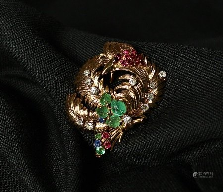 18K Gold, Ruby, Emerald and Diamond Brooch, 1940s