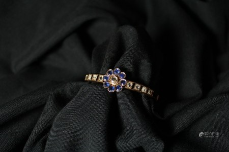 Natural Sapphire and Diamond Bracelet, 1890s