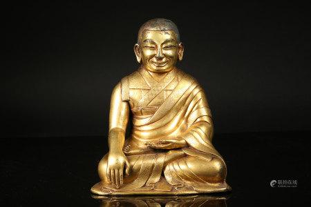 清 铜鎏金上师像