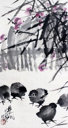 林风眠 群鸡