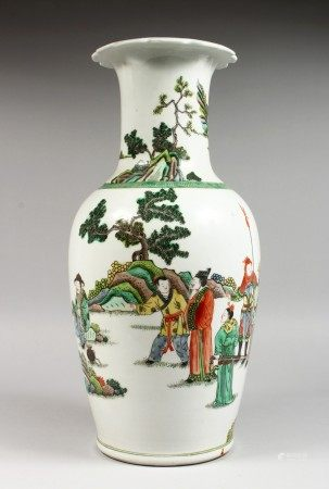 A LARGE CHINESE FAMILLE VERTE PORCELAIN VASE, painted with figures in a landscape. 17ins high.