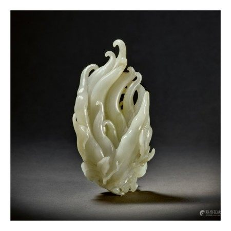 A PALE CELADON JADE CARVING OF A FINGER CITRON,  QING DYNASTY, QIANLONG PERIOD