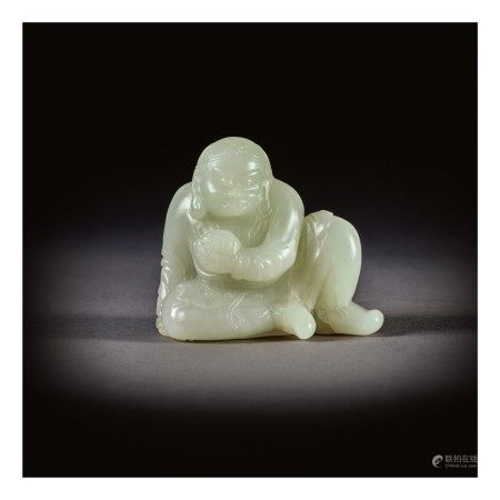A PALE CELADON JADE FIGURE OF A SEATED LUOHAN,  QING DYNASTY, 18TH CENTURY