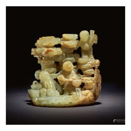 AN EXCEPTIONALLY RARE PALE GREEN AND RUSSET JADE 'DAOIST IMMORTALS' GROUP,  QING DYNASTY, KANGXI / YONGZHENG PERIOD