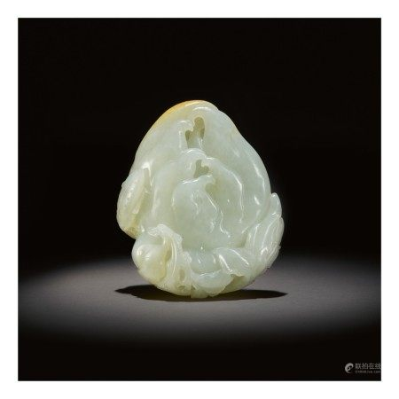A WHITE AND RUSSET JADE CARVING OF A FINGER CITRON,  QING DYNASTY, QIANLONG PERIOD