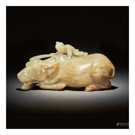 A LARGE CELADON AND RUSSET JADE 'BOY AND BUFFALO' GROUP,  MING DYNASTY