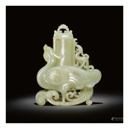 A PALE CELADON JADE 'PHOENIX' VASE AND COVER,  QING DYNASTY, QIANLONG PERIOD