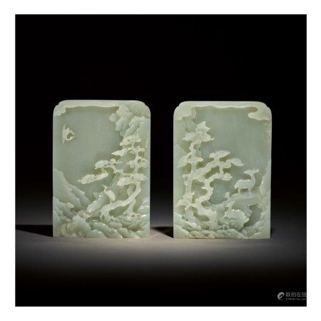 A PAIR OF CELADON JADE TABLE SCREENS,  QING DYNASTY, QIANLONG PERIOD