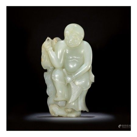 A LARGE PALE CELADON JADE CARVING OF LIU HAI,  QING DYNASTY, QIANLONG PERIOD