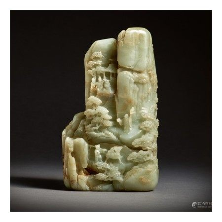 A LARGE PALE GREEN JADE 'IMMORTALS' MOUNTAIN,  QING DYNASTY, QIANLONG PERIOD