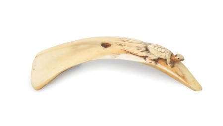 A boar-tusk netsuke with a minogame and ferns Late 18th century