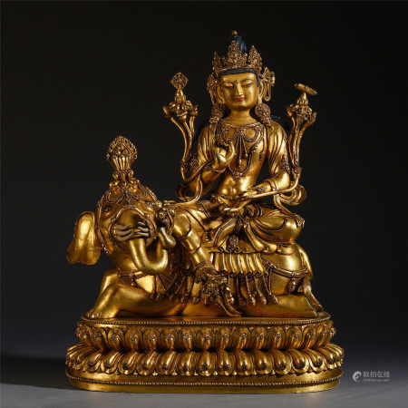 CHINESE GILT BRONZE SEATED GUANYIN ON THE ELEPHANT STATUE