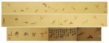 A CHINESE HANDSCROLL PAINTING OF INSECTS BY QI BAISHI
