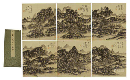 CHINESE PAINTING ALBUM OF MOUNTAIN VIEWS BY HUANG BINHONG