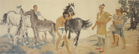 CHINESE PAINTING OF RURAL FIGURES AND HORSES BY XU BEIHONG