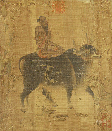 CHINESE SILK HANDSCROLL PAINTING OF OLD MAN RIDING CATTLE