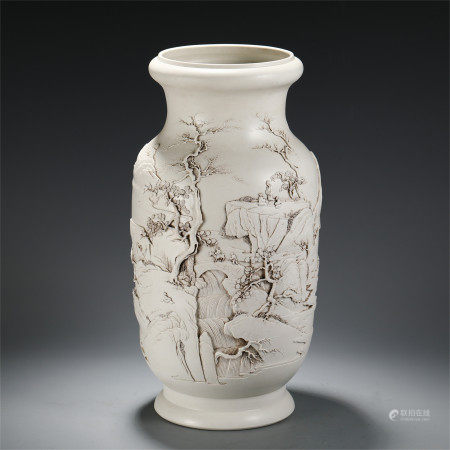 CHINESE WHITE GLAZED INCISED FIGURE AND STORY PATTERN VASE