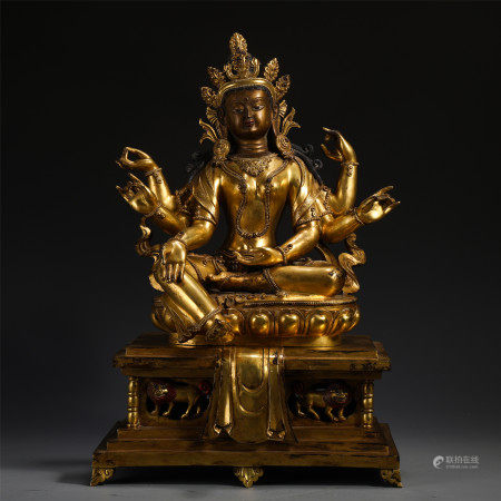 CHINESE GILT BRONZE OF SIX ARMS GUANYIN ON LOTUS