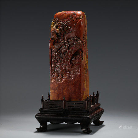 A LARGE CHINESE CHICKEN BLOOD STONE CARVED MOUNTAIN VIEWS BOULDER TABLE ITEM
