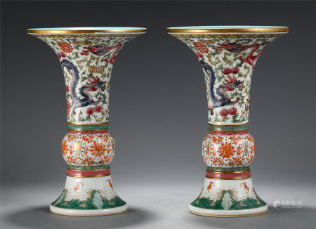 A PAIR OF CHINESE FAMILLE ROSE DRAGON PATTERN FLOWER GU VASE