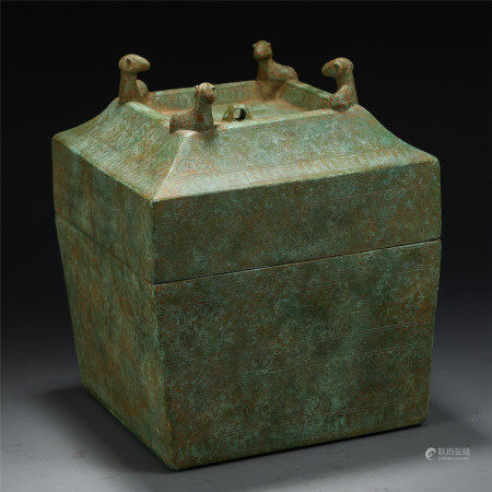 AN ANCIENT CHINESE BRONZE SQUARE BOX AND COVER