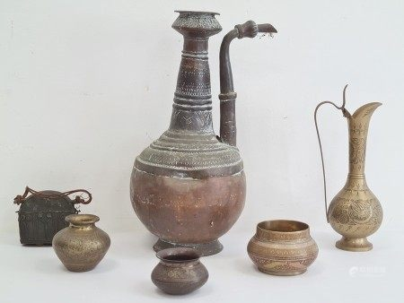 Collection of Asian and Middle Eastern brass, bronze and copper vessels, comprising a large copper
