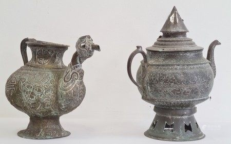 Two Asian copper tea kettles, each of globular form, the first with cover and spire finial, the