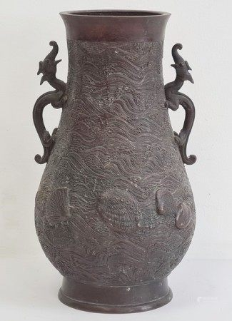 Chinese bronze two-handled baluster vase, the recessed base bearing six-character Xuande mark,