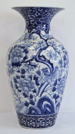 Asian porcelain baluster vase, probably Japanese, painted in underglaze blue with flowering
