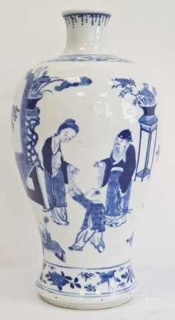Chinese porcelain blue and white Meiping shaped vase, painted with figures before a table, vases