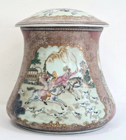 Chinese export-style waisted cylindrical vase and cover, printed, painted and gilt in the 18th