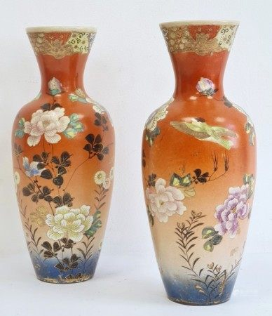 Pair of Japanese pottery baluster vases, circa 1900, red eight-character marks to bases, each