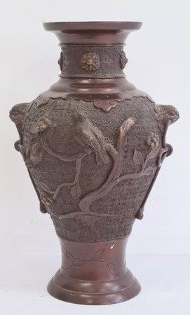 Japanese bronze baluster vase, Meiji period, decorated with birds perched on flowering branches,