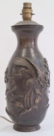 Japanese bronze vaseadapted as a lamp base, decorated with birds perched on rockwork amongst