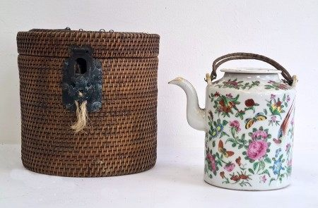 Chinese famille rose Canton teapot and coverin travelling fitted wicker case, circa 1890-1910,