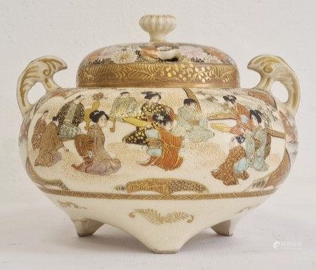 Japanese Satsuma vase and cover, circa 1890-1910, indistinct gilt marks to base, of compressed
