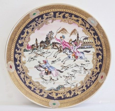 20th century Continental porcelain Chinese export-style charger, printed, painted and gilt with