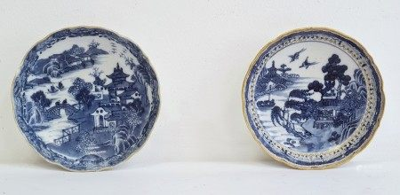 Two early 19th century Chinese export porcelain blue and white saucers, printed in blue with
