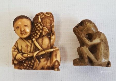 Late 19th century Japanese ivory carved netsuke modelled as a seated man holding a basket of