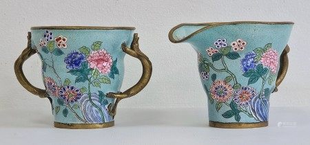 Chinese turquoise ground enamelled two-handled cupand a jug, enamelled with flowering chrysanthemum