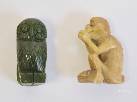 Chinese soapstone miniature modelof a monkey, its paws together kneeling in a seated position, 4.