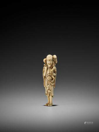 A RARE IVORY NETSUKE OF A SENNIN WITH ONI