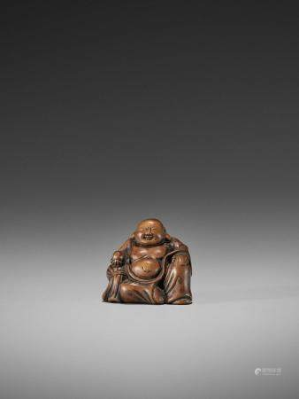 A RARE AND EARLY WOOD NETSUKE OF HOTEI