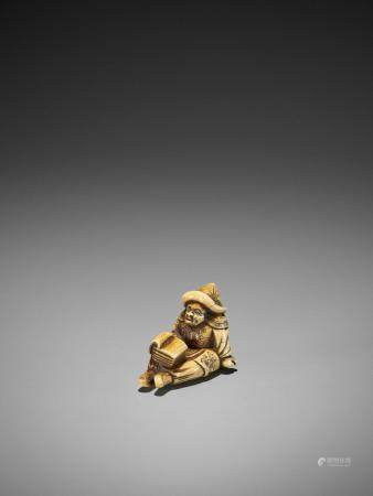 A RARE AND EARLY IVORY NETSUKE OF A SEATED DUTCHMAN READING