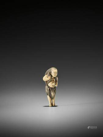 AN EXQUISITE IVORY NETSUKE OF A DIVING GIRL (AMA)
