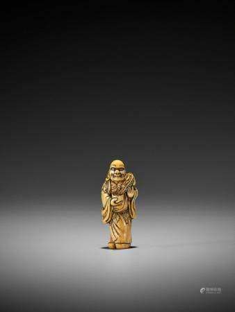 AN EARLY IVORY NETSUKE OF CHINNAN SENNIN