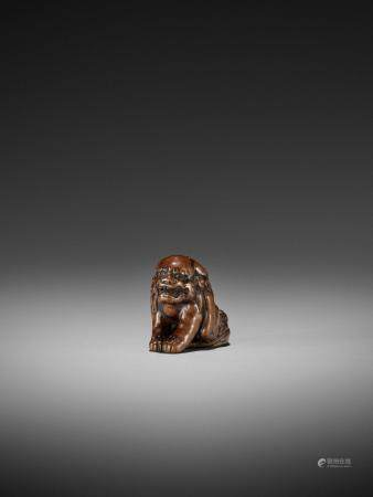 A WOOD NETSUKE OF A SHISHI ATTRIBUTED TO CHIKUYOSAI TOMOCHIKA I