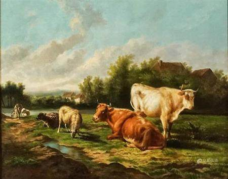French School, 20th Century, Cows and Sheep in a Landscape